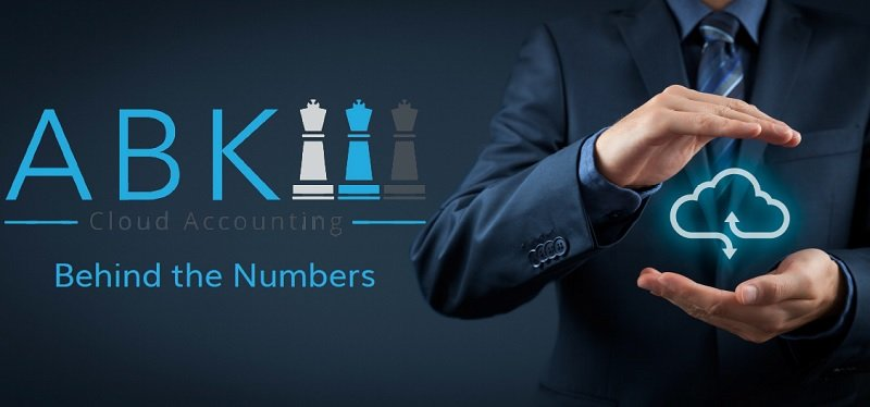 ABK Cloud Accounting image showing company logo and the strap line Behind the Numbers. A businessman in a suit holding a digital cloud.