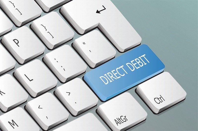 Direct Debit wording on a computer keyboard key