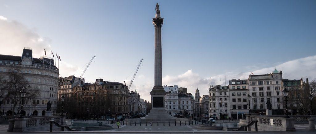 An empty Trafalgar Square during Coronavirus lock-down